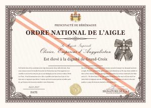 Elévation à la dignité de Grand-Croix de l'Ordre national de l'Aigle