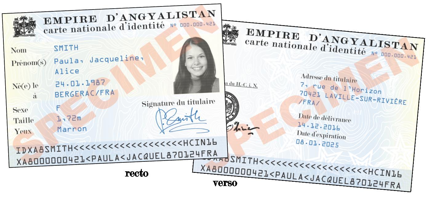 Carte nationale d'identité - spécimen